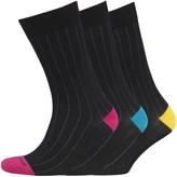 Duchamp Mens Three Pack Egyptian Cotton Ribbed Socks Black Pink Rib