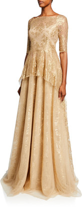 Rickie Freeman For Teri Jon Premier Square-Neck Elbow-Sleeve Metallic Chantilly Lace Peplum Gown