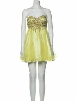 Jovani Strapless Mini Dress Yellow