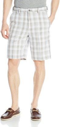Haggar Men's Cool 18 Expandable Waist Yarn Dye Plaid Plain Front Short