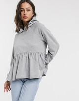 Asos Design DESIGN smock hoodie in grey marl