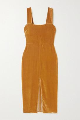 Reformation Net Sustain Emira Velvet Dress - Gold