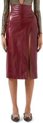 Gucci Shiny Leather Midi Skirt