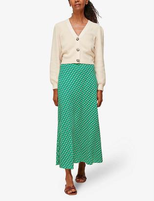 Whistles Elephant-print bias-cut crepe midi skirt