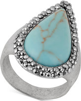 Lucky Brand Silver-Tone Turquoise-Look Statement Ring