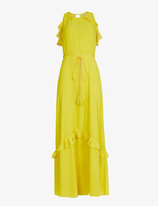 Whistles Frilled-trim crepe maxi dress