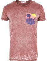 River Island MensRed burnout chest print T-shirt