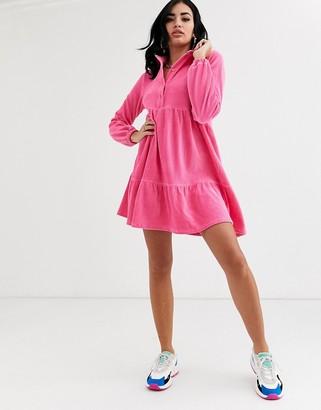 ASOS DESIGN mini cord smock shirt dress in pink