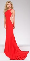 Jovani Jersey Fitted Sheer Panel Halter Prom Dress