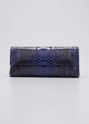 Nancy Gonzalez Gotham Metallic Python Flap Clutch Bag