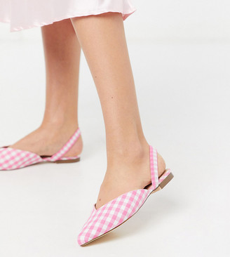 London Rebel wide fit slingback mules in gingham