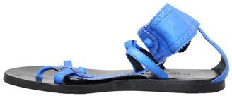 Balenciaga Blue Leather T-Bar Flat Sandals Size 36