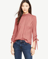 Ann Taylor Mock Neck Ruched Sleeve Blouse