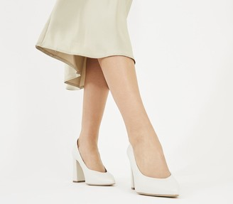 Office Monaco Block Pointed Court Shoes White Leather