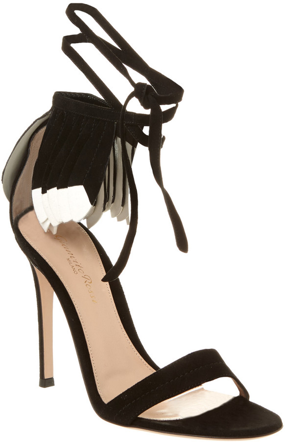 Gianvito Rossi Suede Feather Sandal