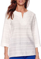 Alfred Dunner Tropical Punch 3/4-Sleeve Lace-Trim Tunic