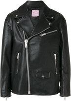 Palm Angels biker jacket - men - Leather/Viscose - 46