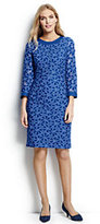 Lands' End Women's Petite 3/4 Sleeve Eyelet Shift Dress-Sea Cliff Blue Lace