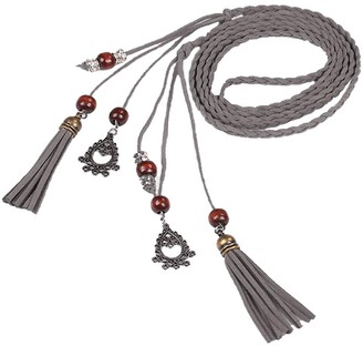 SSMENG Women Fashion Folk-Custom Tassel Braided Pendant Waist Belt Tassel Band Corset Fashion Accessories for Dresses(Grey One Size)