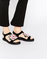Kat Maconie Robin Multi Emroidered & Gem Flat Sandals