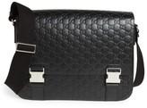 Gucci Men's Gg Leather Messenger Bag - Black