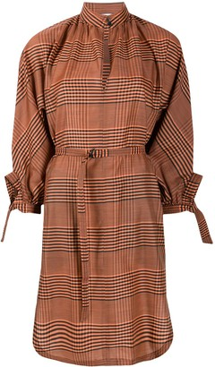 Christian Wijnants Plaid Check Shirt Dress With High Mandarin Collar