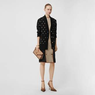 Burberry Monogram Wool Cahmere Blend Overized Cardigan