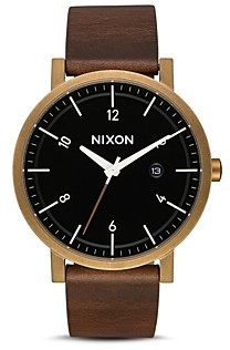 Nixon Rollo Brown Leather Watch, 42mm