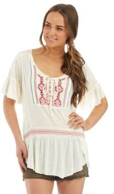Free People Short Sleeved Peasant Blouse