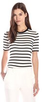 Theory Women's Leneva Refine Stripe Short Sleeve Shirt