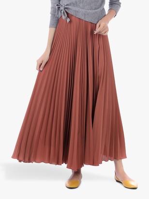 Jolie Moi Pleated Crepe Maxi Skirt