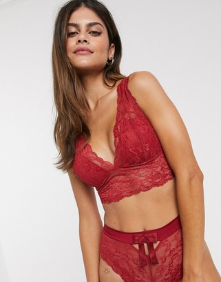 Lindex recycled lace Emelie longline padded bralette in red