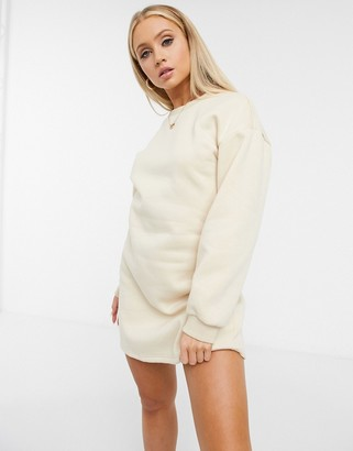 NaaNaa cut out back sweater dress in stone