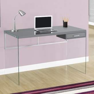 Glass Desk Monarch Specialties Inc. Color: Glossy Grey