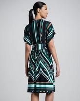 Melissa Masse V-Neck Knee-Length Print Dress