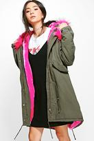 Boohoo Lily Faux Fur Lined Hooded Parka