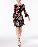 Connected Printed Bell-Sleeve Drop-Waist Dress, Regular & Petite Sizes