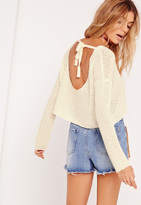 Missguided Scoop Back Cropped Sweater White