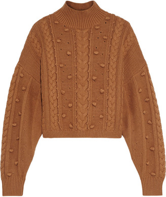 Nicholas Crop Cozy Cable-knit Wool And Cotton-blend Sweater