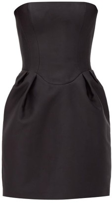 Rasario Strapless Satin Mini Dress - Black