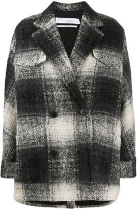 IRO Maxi Check Wool Peacoat