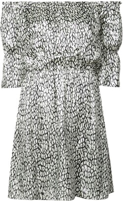 Saint Laurent Printed Off-The-Shoulder Dress