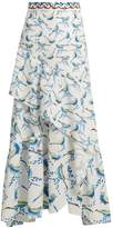 Peter Pilotto Bird-print asymmetric ruffled cloqué skirt