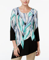 JM Collection Leaf-Print Asymmetrical Tunic, Only at Macy's