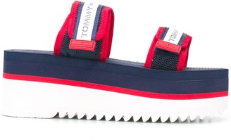 Tommy Jeans Platform-Sole Touch-Strap Sandals