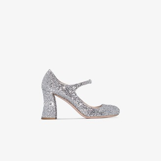 Miu Miu Womens Metallic Silver 85 Glitter Mary Jane Pumps