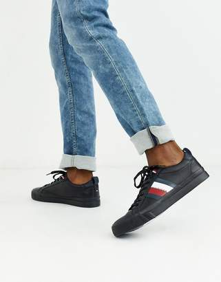 Tommy Hilfiger leather trainer in black with side logo stripes
