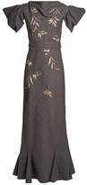ATTICO The Isabel Leaf-embroidered Checked Cotton-blend Dress - Womens - Grey