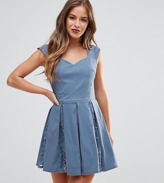 City Goddess Petite Skater Mini Dress With Sequin Pleat Detail-Grey