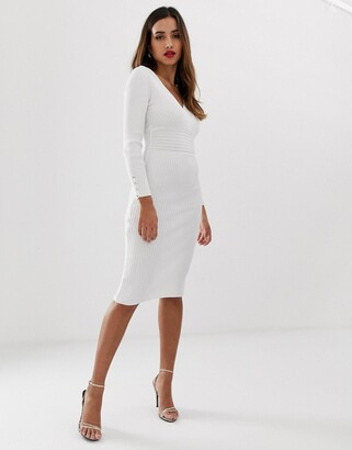Lipsy plunge neck knitted midi dress in white